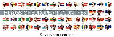 állhatatos, flag., nemzeti, ábra, kéz, vektor, zászlók, európai