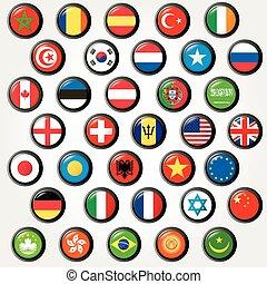 állhatatos, flags., világ, vektor, gombol