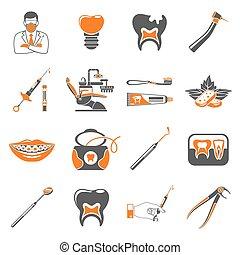 állhatatos, fogászati, szolgáltatás, két, szín, ikonok