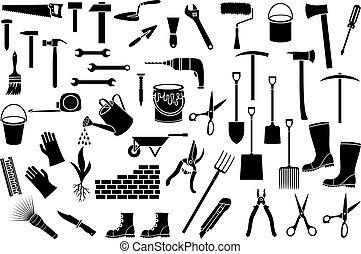állhatatos, gereblye, wall), köröm, eszközök, (ax, hajcsavaró, ikonok, locsolás, nyesőolló, csákány, festék, ficam, talicska, tégla, kert, konzerv, olló, egyenes, lapát, kalapács, kőműveskanál, híg