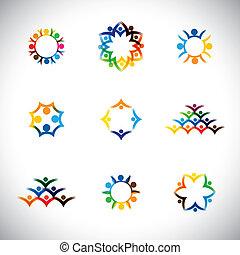 állhatatos, graphic., csapatmunka, együtt, csoport, ikonok, szeret, -, is, szervezet, szövetség, színes, gyűjtés, egység, ábra, gyerekek, szolidaritás, őt előad, emberek, munkavállaló szegényház, ez, vektor