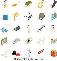 állhatatos, gyártás, isometric, mód, ikonok