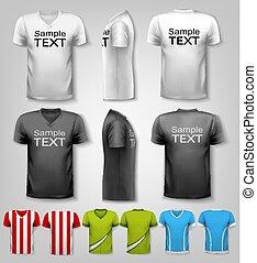 állhatatos, hím, t-shirts., színes, vector.