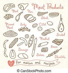 állhatatos, hús, product., előírások, vektor, termékek, ...