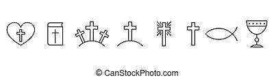 állhatatos, icons., áttekintés, keresztény, vallás, ikonok