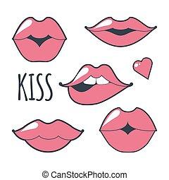 állhatatos, ikon, többszínű, alakít, girls., becsuk, különböző, elszigetelt, háttér., fehér, nők, piros, majszol, jelkép., gyűjtés, ajkak, csókol, elküldés, lips., feláll, dél, vektor, csókolózás