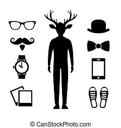 állhatatos, ikonok, őz, silhouette., vektor, csípőre szabott, ember