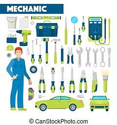 állhatatos, ikonok, autó, szellemi foglalkozás, ábra, vektor, repairs., szerelő, autó, eszközök