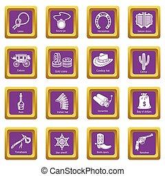 állhatatos, ikonok, bíbor, nyugat, derékszögben, vad