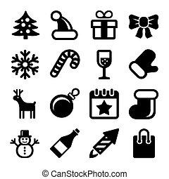 állhatatos, ikonok, háttér., vektor, white christmas
