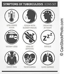 állhatatos, ikonok, infographic., tuberculosis., tünetek,...
