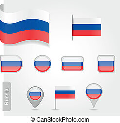 állhatatos, ikonok, -, lobogó, zászlók, orosz