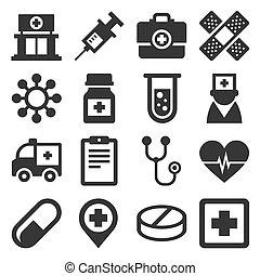 állhatatos, ikonok, medikus, háttér., vektor, egészség, fehér