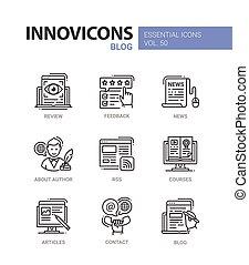 állhatatos, ikonok, modern, -, blog, vektor, tervezés, egyenes