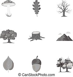 állhatatos, ikonok, nagy, jelkép, gyűjtés, vektor, ábra, monochrom, részvény, style., erdő