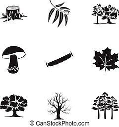 állhatatos, ikonok, nagy, jelkép, gyűjtés, vektor, fekete, ábra, részvény, style., erdő