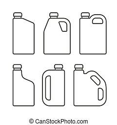 állhatatos, ikonok, oil., canisters, műanyag, gép, vektor, motor, tiszta, fehér