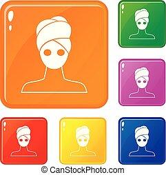 állhatatos, ikonok, szín, maszk, vektor, arcápolás, agyag, ásványvízforrás
