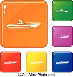 állhatatos, ikonok, szín, vektor, motor, halad hajózik