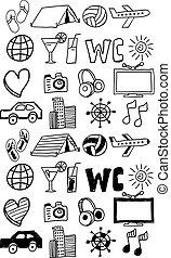 állhatatos, ikonok, utazás, /, kéz, doodles, húzott