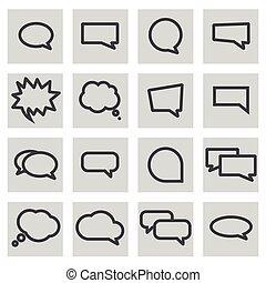 állhatatos, ikonok, vektor, beszéd, egyenes, panama