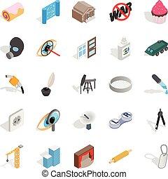 állhatatos, isometric, élőlény, mód, ikonok