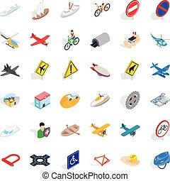 állhatatos, isometric, szállítás, mód, ikonok