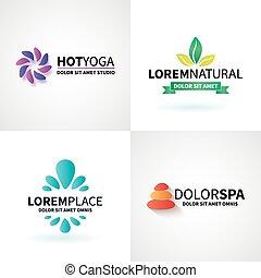 állhatatos, jóga, wellness, természetes, vektor, masszázs, jel, ásványvízforrás, elmélkedés, alapismeretek
