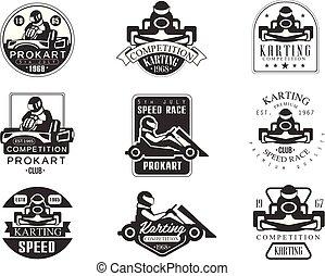 állhatatos, jutalom, minőség, procart, karting, emblémák, verseny, klub, versenyfutó, fekete, autó, körvonal, fehér, versenyzés