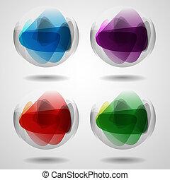 állhatatos, közül, áttetsző, kristály, ball.
