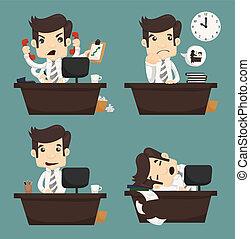 állhatatos, közül, üzletember, ül asztal, hivatal munkás