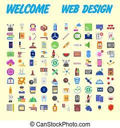 állhatatos, közül, 100, magas, minőség, lakás, icons., vektor