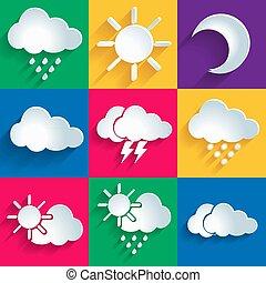 állhatatos, közül, 9, magas, minőség, vektor, időjárás, ikonok