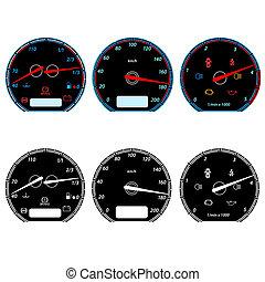 állhatatos, közül, autó, sebességmérő, helyett, versenyzés, design., vektor, ábra