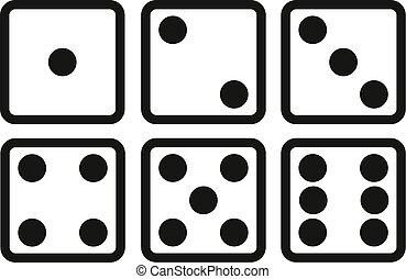 állhatatos, közül, dobókocka, egyenes, ikon, white, háttér., hat, dobókocka, vektor, illustration.