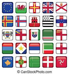 állhatatos, közül, európai, derékszögben, lobogó, ikonok