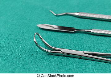 állhatatos, közül, fém, orvosi felszerelés, eszközök, helyett, fog, fogászati törődik