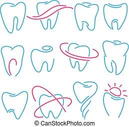 állhatatos, közül, fog, fog, ikonok, white, háttér., konzerv, lenni, használt, mint, jel, helyett, fogászati, fogász, vagy, stomatology, klinika