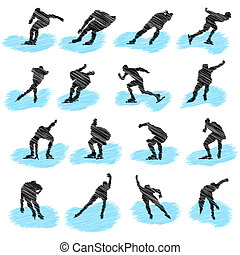 állhatatos, közül, ice-skating, atléta, grunge, körvonal