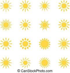 állhatatos, közül, ikonok, nap, vektor, ábra