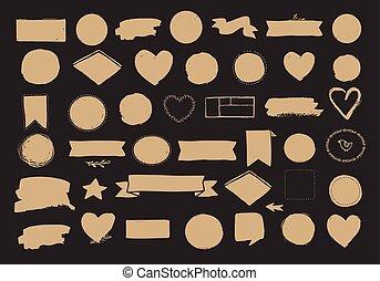 állhatatos, közül, kéz, húzott, alakzat, -, piros, gyeplő, szalagcímek, és, karikák, vektor, tervezés elem
