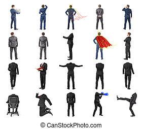 állhatatos, közül, különböző, férfiak, alatt, díszkíséretek, és, díszkíséretek, kívül, férfiak, elszigetelt, képben látható, egy, white háttér