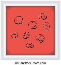 állhatatos, közül, karikatúra, mód, labda