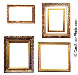 állhatatos, közül, kevés, arany, frames., elszigetelt, felett, white háttér