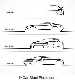 állhatatos, közül, modern, autó, silhouettes.