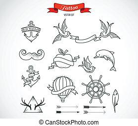 állhatatos, közül, modern, vektor, tetovál, művészet