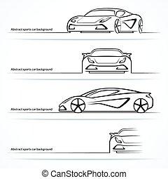állhatatos, közül, négy, elvont, sportkocsi, silhouettes.