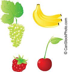 állhatatos, közül, négy, gyümölcs