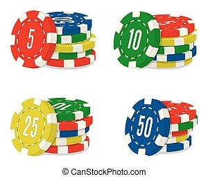 állhatatos, közül, négy, kaszinó kicsorbít, kazalba rak, noha, különböző, value., csomók, közül, hazárdjáték, épület, pénzdarab.