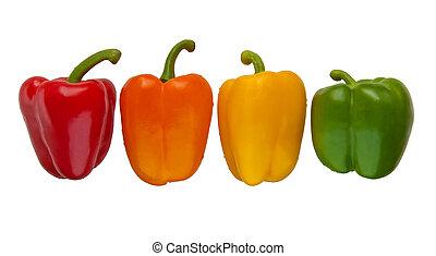 állhatatos, közül, négy, szín, kellemes peppers